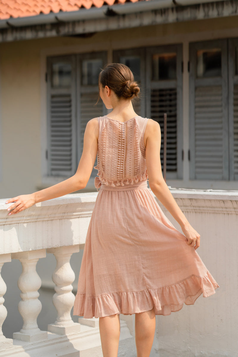 Cue Music Midi Dress in Blush