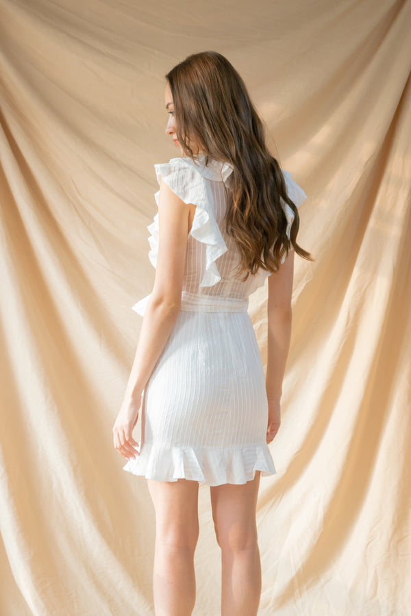 Angel's Ruffle Dress White