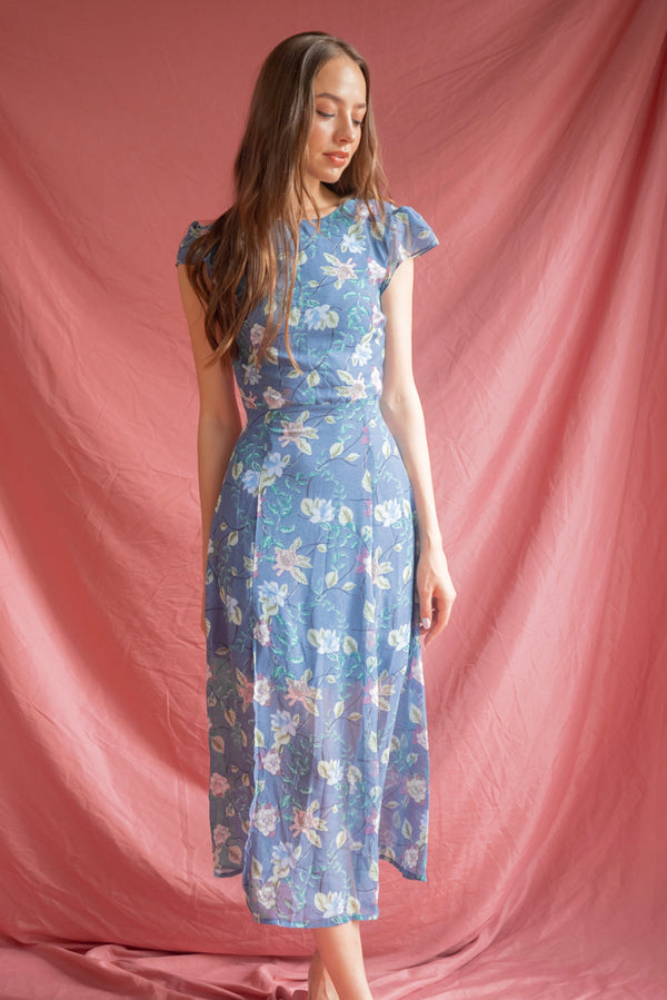 Athenia Floral  Dress in Blue