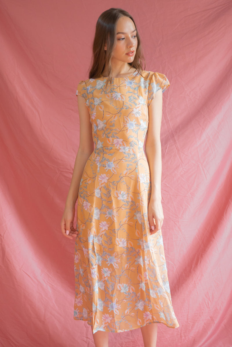 Athenia Floral  Dress in Mustard