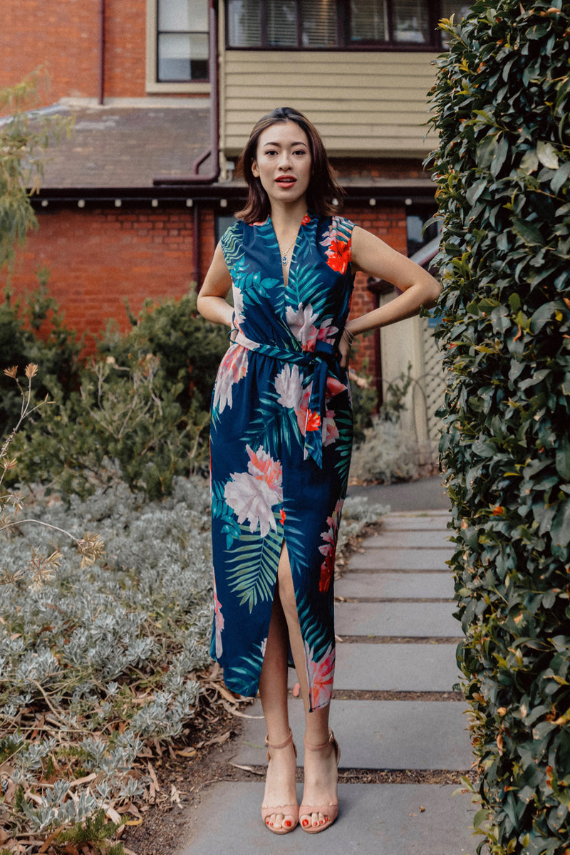 Beverly Floral Shift Dress - Navy
