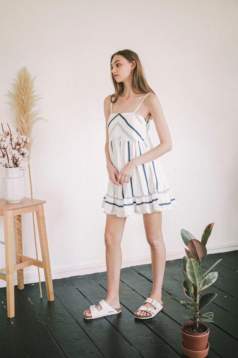 Havana Navy Striped Baby Doll Dress