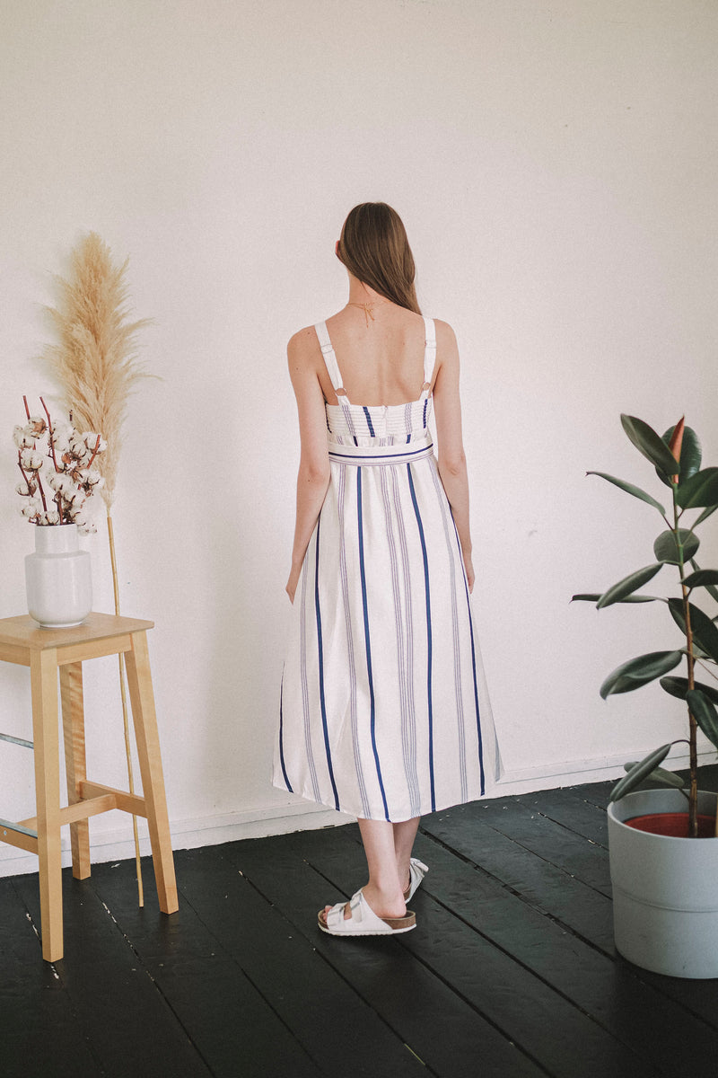 Havana Striped Dress - Navy