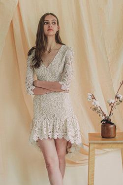 Max Attitude Lace Dress in White