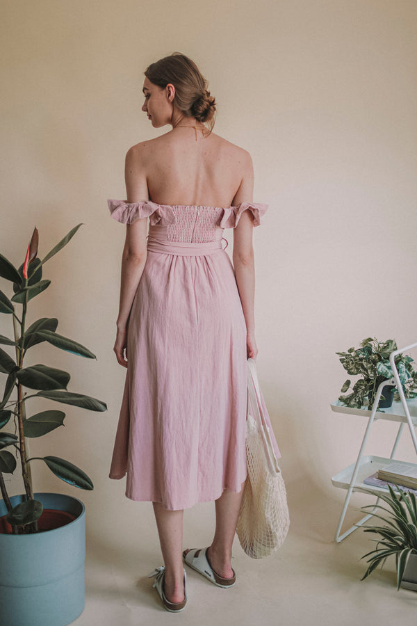 Saddie Off Shoulder Blush Dress
