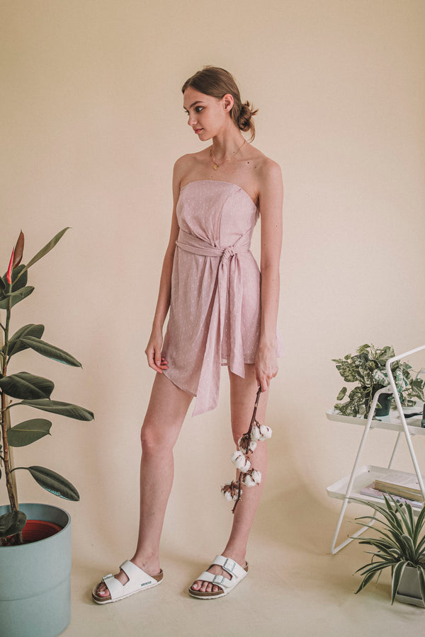 Wing It Bustier Romper Blush