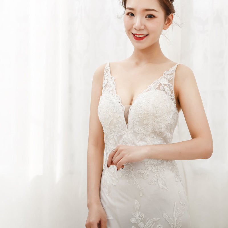 Sexy Mermaid Lace Wedding Dresses Spaghetti Straps V-neck Bridal Wedding Gown Custom Size Color