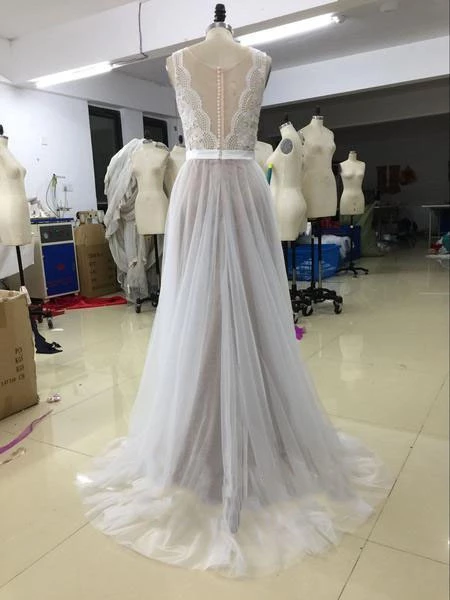 A Line Beach Wedding Dress Sexy Lace Bridal Gowns