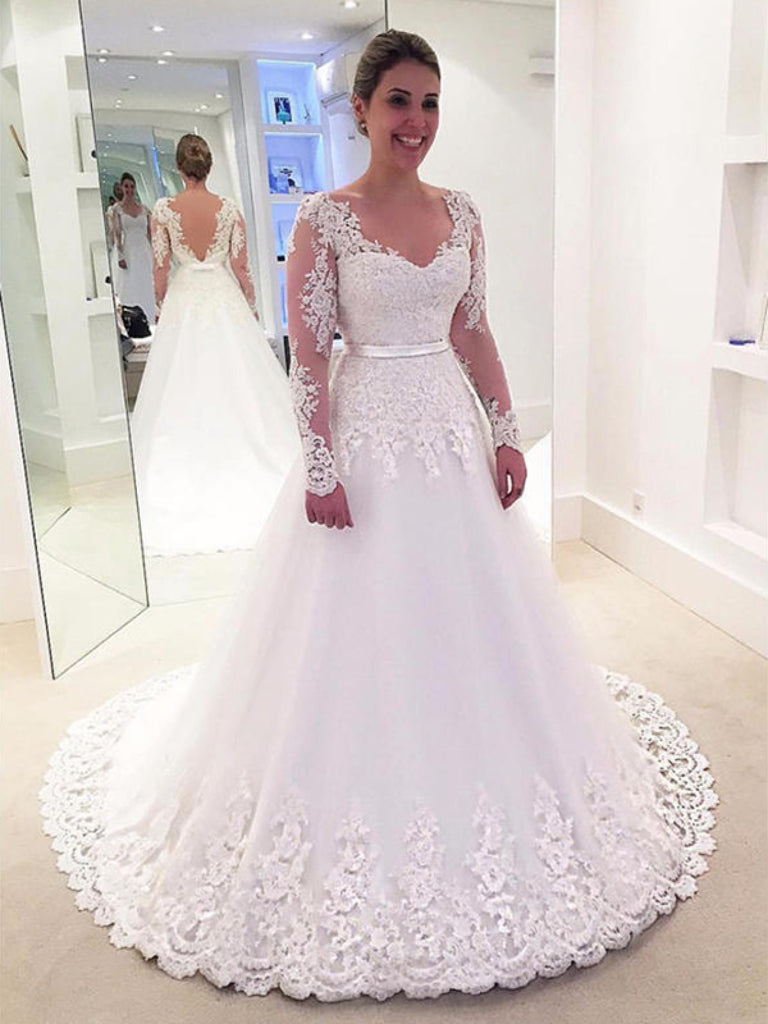 A Line V Neck Wedding Dress Long Sleeves Tull Wedding Gown