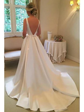 Modest Satin Ball Gown Wedding Dresses Backless Wedding Dress with Bow