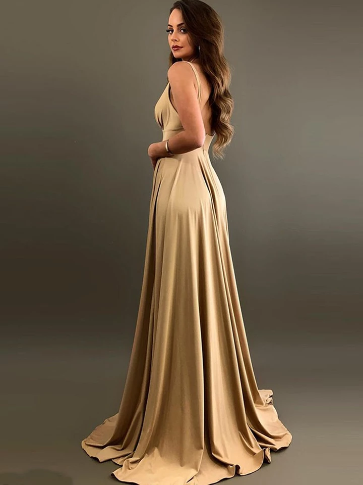 Champagne V Neck Backless Bridesmaid Dresses Split Elastic Long Bridesmaid Gown