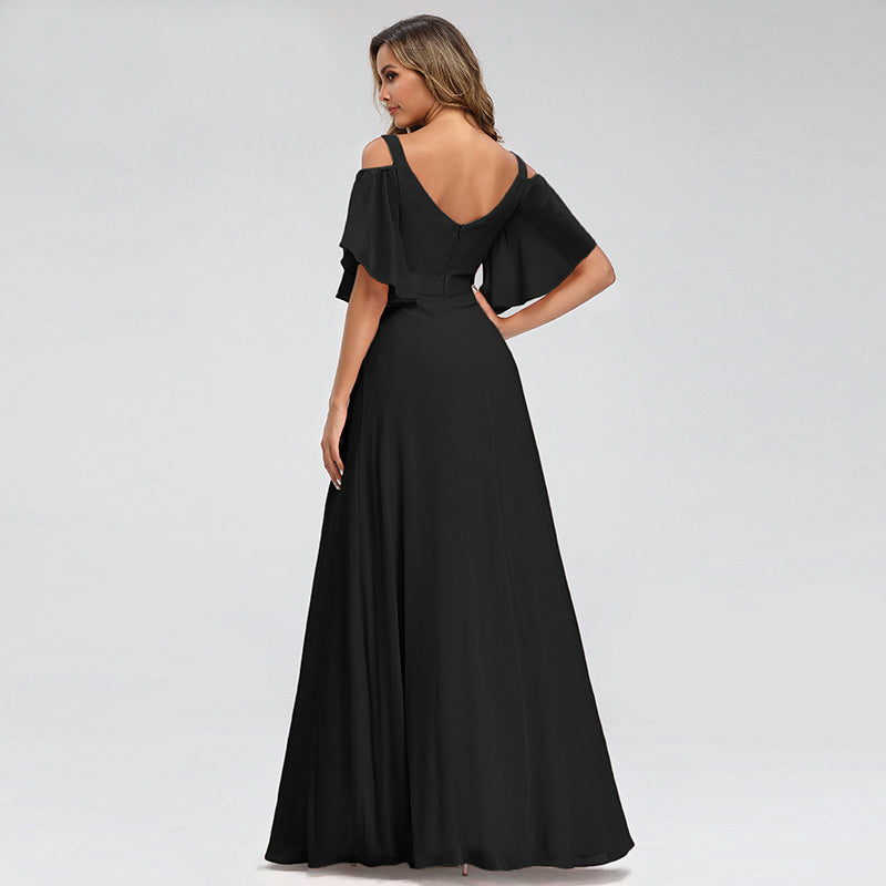 V-Neck Off The Shoulder Bridesmaid Dresses A-Line Elegant Dresses For Wedding Party