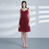 Burgundy Short A-line Bridesmaid Dresses Sleeveless Lace Tulle Party Dresses for Wedding Guest Dresses