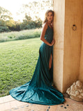 Alluring A-line Satin Prom Dresses Spaghetti Straps Gowns With Slit