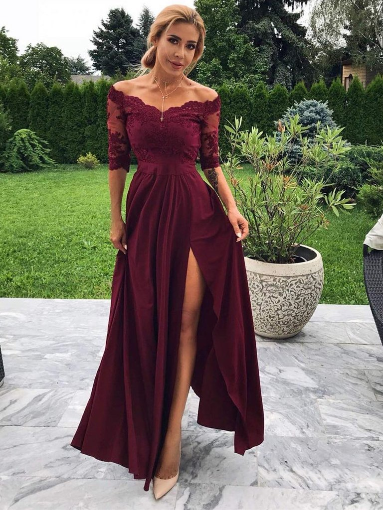 Sexy Satin & Lace A-line Prom Dresses With Slit Half Sleeves Evening Dresses