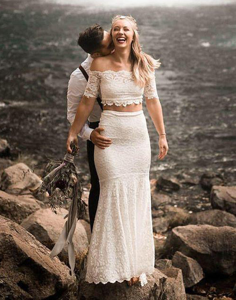 Sexy Lace Wedding Dresses Short Sleeves 2 Pieces Mermaid/Trumpet Gowns