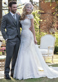 Mermaid Wedding Dress With Lace Appliques Sexy Illusion Back Wedding Gown