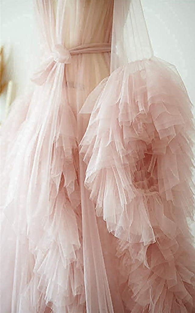 Women's Tulle Robe Puffy Bridal Lingerie Bathgown Dressing Gown Sheer Maternity Photoshoot