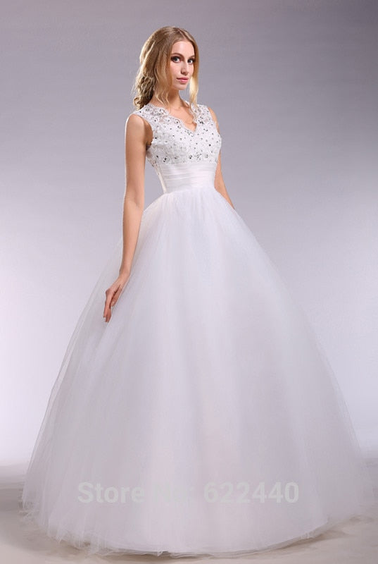 Sexy V-neck Ball Gown Wedding Dresses Cap Sleeves Bride Dress