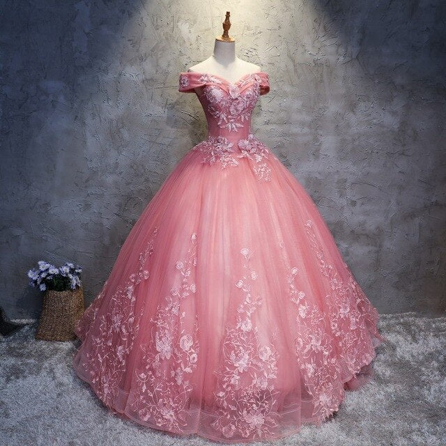 Off The Shoulder Lace Ball Gown Quinceanera Dresses Sweet Gowns Prom Formal Gowns Robes de Quinceanera
