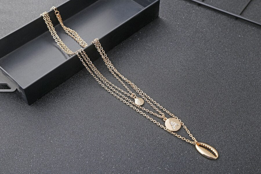 Gold Choker Fasion Women Multi Layers Pendants Words Necklace Jewelry Accessories