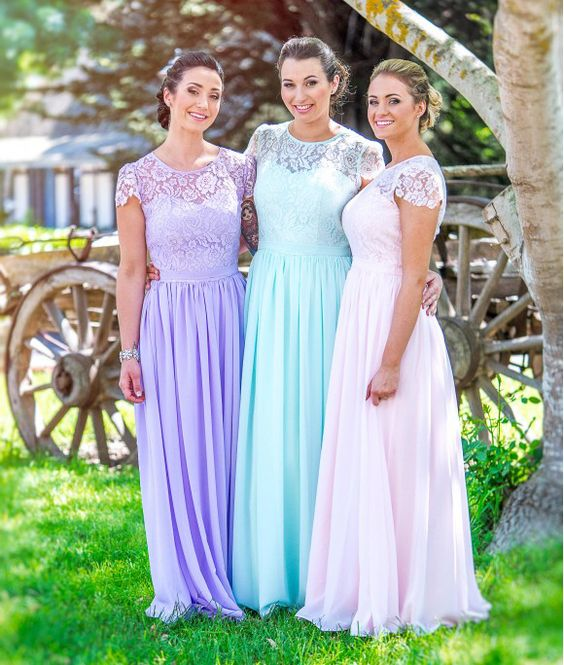 Bridesmaids Dresses For Wedding Party Gowns Lace Short Sleeves Formal Women Dress robe demoiselle d'honneur