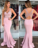 Satin Evening Dresses Pink Mermaid Prom Gowns V-neck Spaghetti Straps Women Special Occasion Dress Robe vestidos de noite