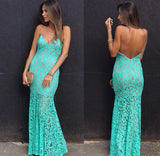 Spaghetti Straps Evening Dresses Mermaid Lace Formal Party Dresses robes de soirée