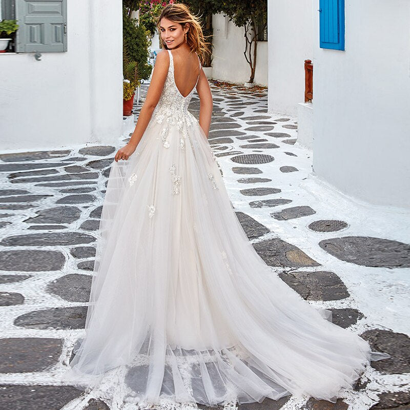A Line Wedding Dress Long Boho Lace Wedding Gown