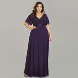 Plus Size Chiffon Evening Dresses Elegant V-Neck Ruffles Formal Evening Gown