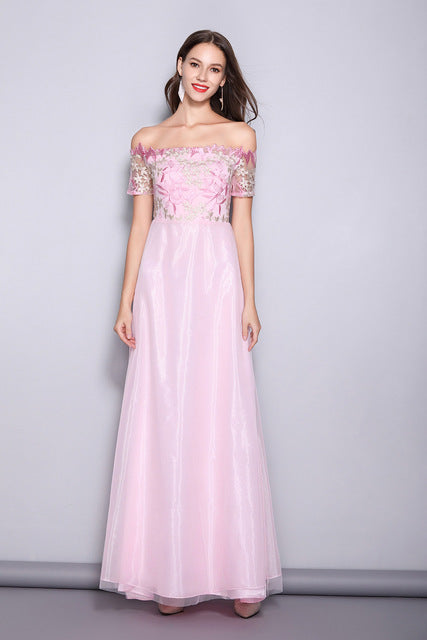 Pink Organza Prom Party Dresses Off The Shoulder Short Sleeves Ladies Formal Gowns
