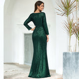 Bling Mermaid Prom Dresses Sequined Long Sleeve V-Neck Side Split Party Gowns