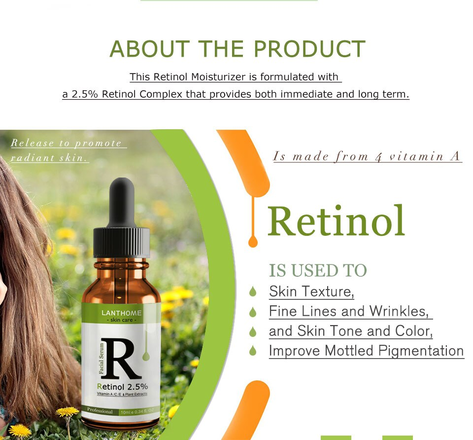Face Care Facial Essence Retinol 2.5% Anti-aging Remove Wrinkle Collagen Face Serum Nutritious Vitamin A