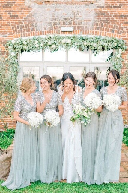 Short Sleeves Mint Green Chiffon Bridesmaid Dresses Long Wedding Guests Dress V-neck Sequined Bodice