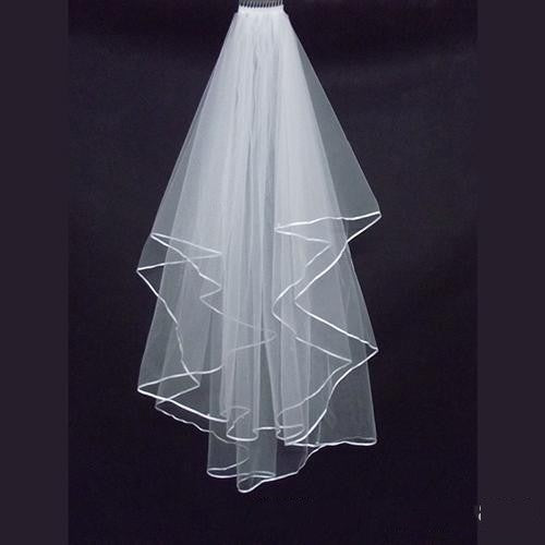 New White Ivory Wedding 2T Bridal Veil with Comb Bride