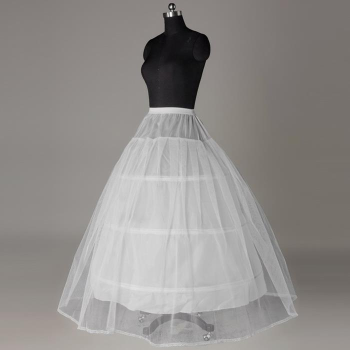 A-line White Nylon 1 Tulle 3 HoopS Wedding Petticoat Dress