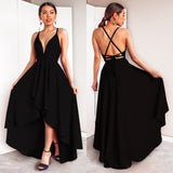 Elegant A Line Bridesmaid Dresses Deep V Neck  High Low Sexy With Cross Back