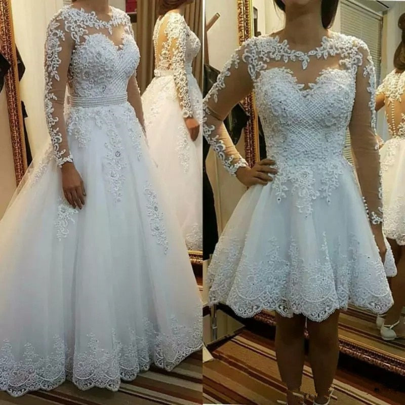 Two Pieces Ball Gown Wedding Dresses Detachable Train Princess Lace Pearls Bridal Gowns