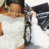 Elegant Beads Mermaid Wedding Dress Off Shoulder Wedding Gowns African Styles