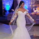Sexy Off The Shoulder Lace Mermaid African Wedding Dresses Long Sleeves Bridal Gowns