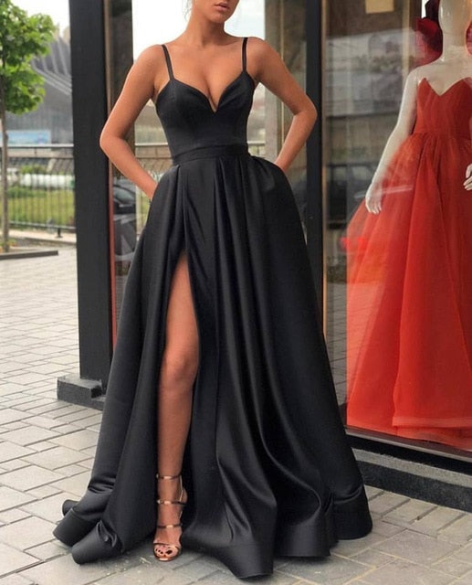 A Line Evening Dress with High Slit Satin Spaghetti Straps