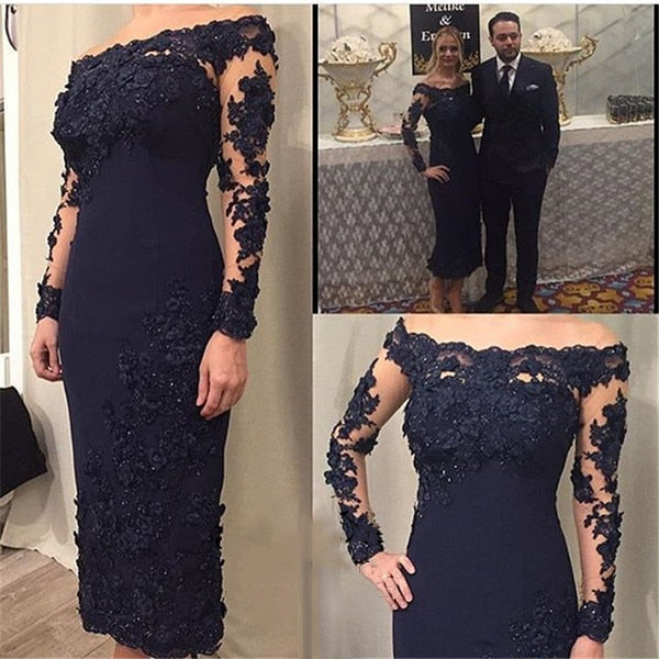 Mother of the Bride Dresses Navy Blue Off the Shoulder Long Sleeves Evening Dresses