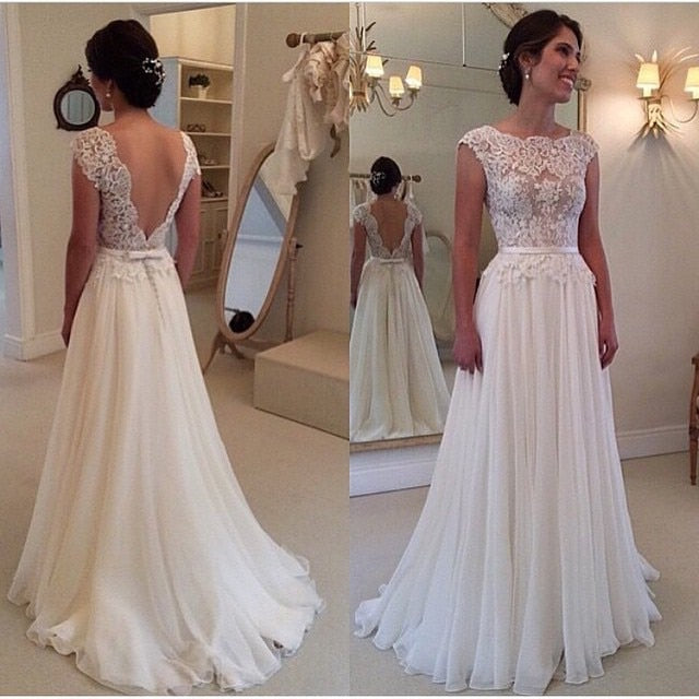 Cap Sleeves Backless Wedding Dresses A-line Lace Boho Wedding Gown