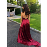 Halter A line Evening Dress High Slit Sexy Backless Sweep Train