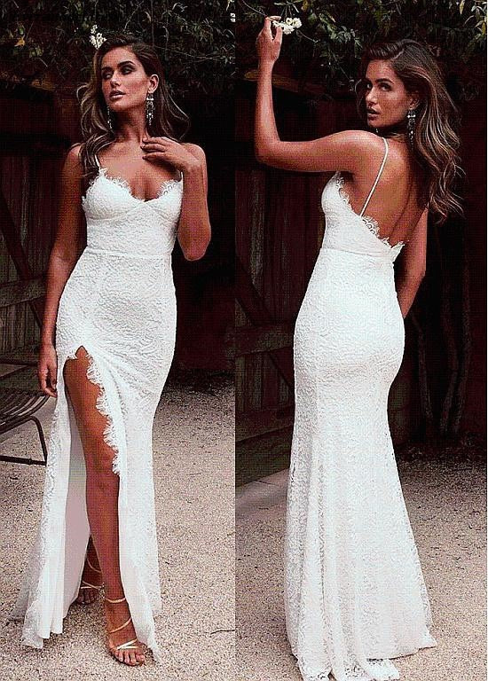 Sexy Lace Evening Dresses High Split Spaghetti Straps Backless Prom Gowns