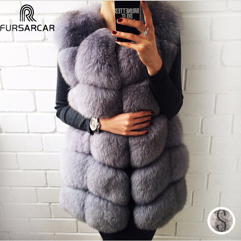 FURSARCAR Real Natural Fur Vest Women Fox Fur Coat 2020 New Luxury Female Fur Jacket Warm Thick Long Winter Fur Vest Waistcoat