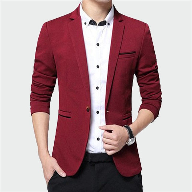 New Men's Blazer Solid Color Suit Spring Autumn High Quality Casual Coats Slim Fit Male Fashion Cool Jackets M~5XL ML214