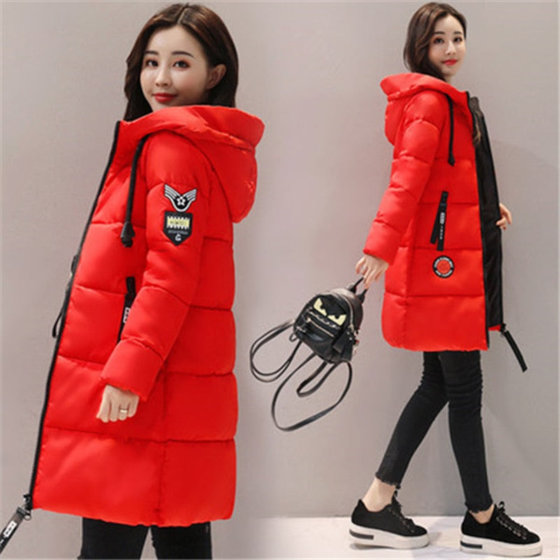 Parka Women 2020 New Winter Down jacket Women Coat Long Hooded Outwear Female Parka Thick Cotton Padded Female Basic Coats LU666