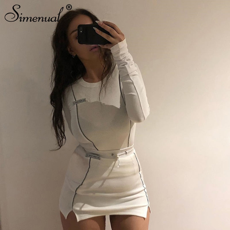 Simenual Casual Fashion Reflective Striped Two Piece Outfits Women Long Sleeve Top And Mini Skirt Sets 2020 Autumn White Set New