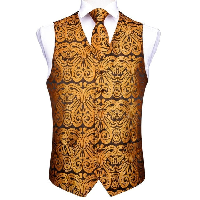 DiBanGu Red Black Paisley Fashion Wedding Men 100%Silk Waistcoat Vest Ties Hanky Cufflinks Cravat Set for Suit Tuxedo MJTZ-106